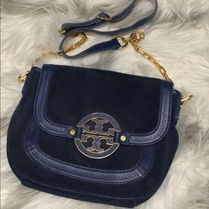 Tory Burch Amanda Suede/Leather Cross Body Bag
